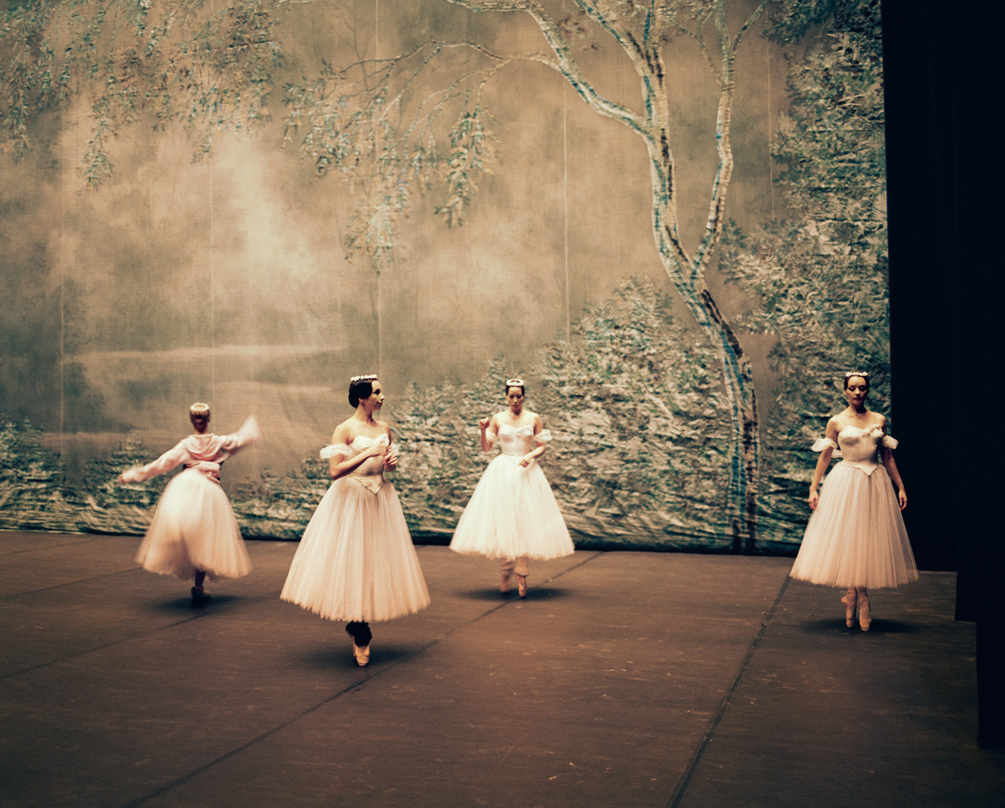 RUSSIA, Moscow, group of young Bolshoi ballerinas warming up before a show at the Bolshoi Theatre