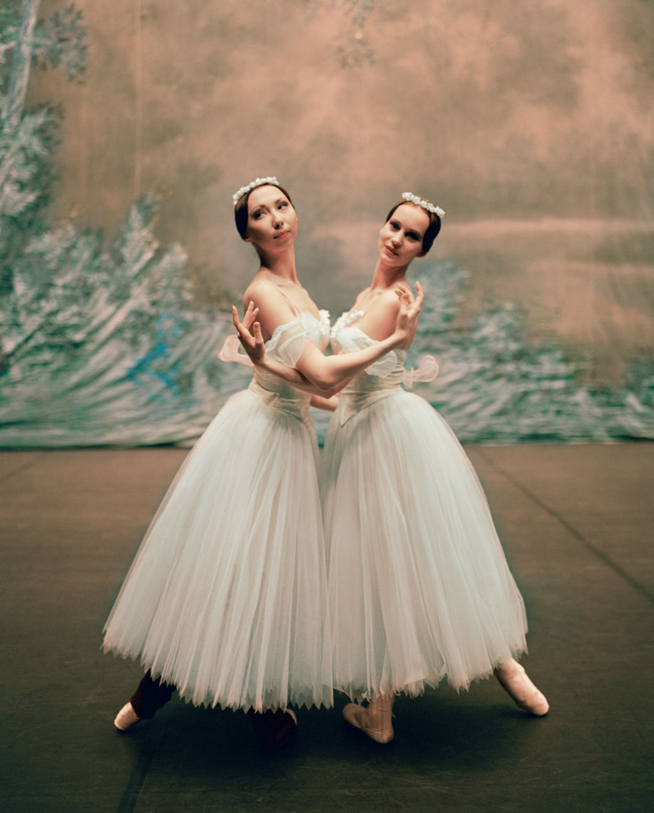 RUSSIA, Moscow, two young Bolshoi ballerinas practicing before a performance at the Bolshoi Theatre.
