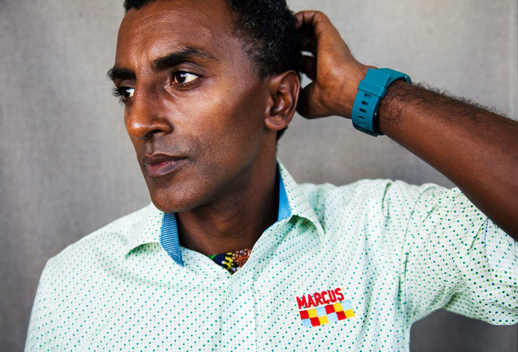 BERMUDA, Hamilton. Portrait of Chef Marcus Samuelsson at his Marcus